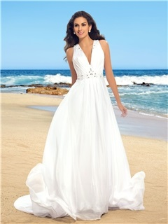 Simple Ruched Beaded V-Neck Sheer Back Chiffon Beach Wedding Dress