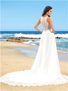 Simple Ruched Beaded V-Neck Sheer Back Beach Wedding Dress