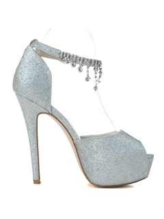 Popularable Sequins Stiletto Heel Peep toe Wedding Shoes