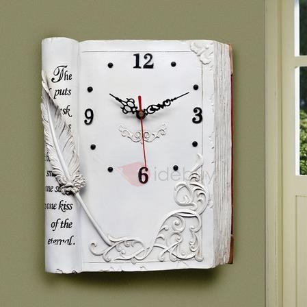 New Unique Texture Vintage Book Style Mute Clock