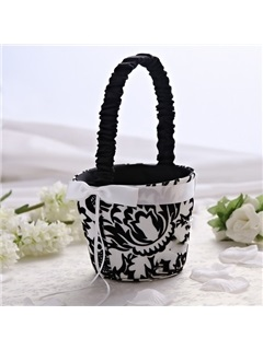Nice Flower Basket in Satin With Embroidery