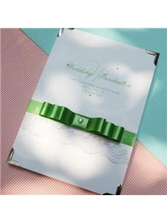 Great Hearted Wedding Guest Book With Green Bowknot