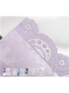 Floral Style Z-Fold White Invitation Cards (20 Pieces One Set)
