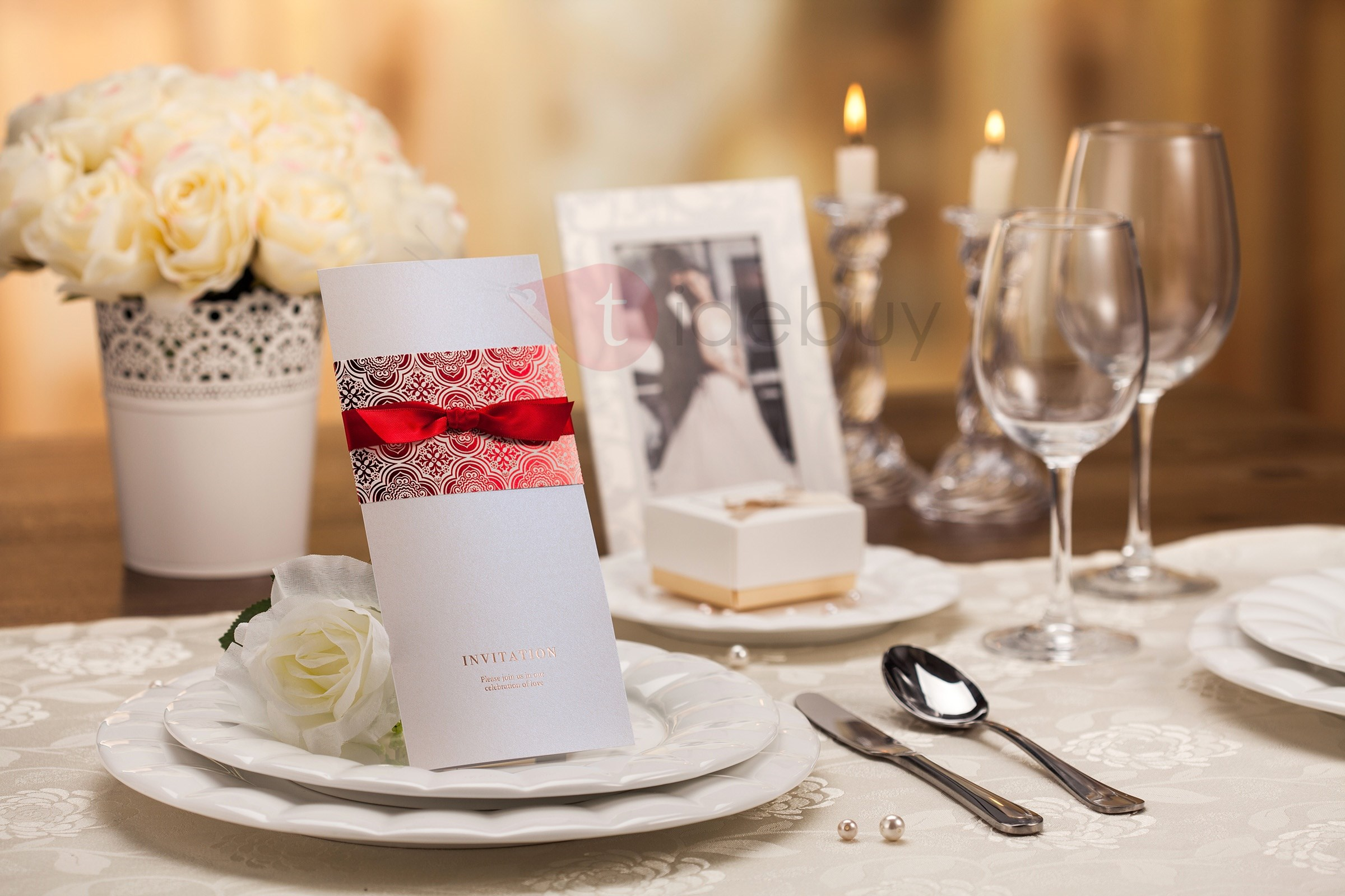 Formal Style Wrap & Pocket Invitation Cards (20 Pieces One Set)