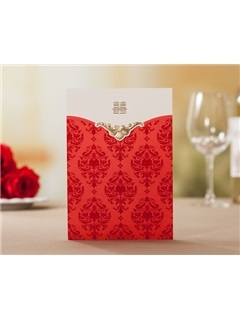 Red Floral Style Top Fold Wedding Invitation Cards (20 Pieces One Set)