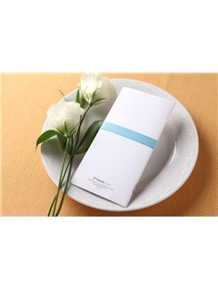 Classic Style Wrap & Pocket Invitation Cards With Ribbons (20 Pieces One Set)