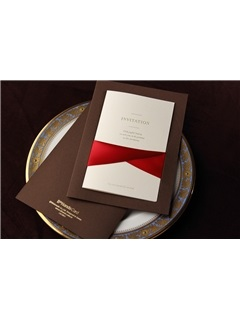 Classic Style Flat Card Invitation Cards With Ribbons (20 Pieces One Set)