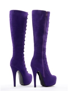Lace-Up Stiletto Heel Platform Knee-High Boots