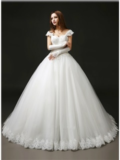 Sweetheart Beaded Appliques Cap Sleeve A-Line Wedding Dress