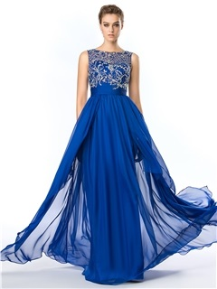 Delicate Bateau Neckline Beading Chiffon Floor Length Prom Dress & Prom Dresses under 500