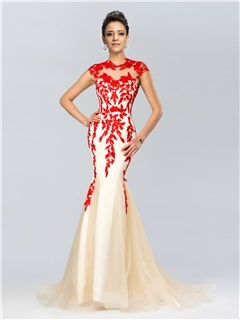 Elegant Mermaid Jewel Neck Appliques Sweep Train Long Evening Dress & fairy Evening Dresses