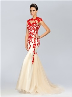 Elegant Mermaid Jewel Neck Appliques Sweep Train Long Evening Dress