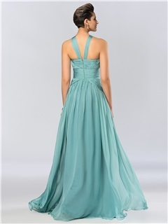 Consice A-Line Halter Ruffles Floor Length Evening Dress