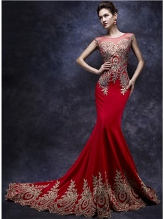 Amazing Mermaid Tulle Neck Appliques Beading Long Evening Dress