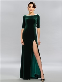 Vintage Bateau Neckline Half Sleeves Beading Long Evening Dress Designed