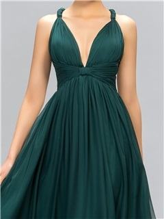 Classic V-Neck Straps A-Line Evening Dress Designed
