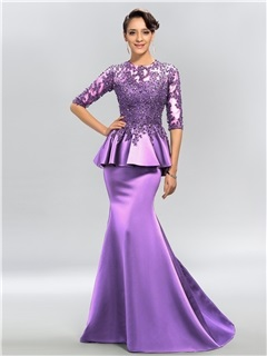 Vintage Jewel Neck Appliques Sequins Half Sleeves Long Evening Dress & Evening Dresses for sale