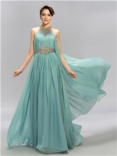 Eye-catching Jewel Neck Beaded Ruffles Long Evening Dress Designed