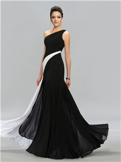 Classical Contrast Color One Shoulder Long Evening Dress Designed