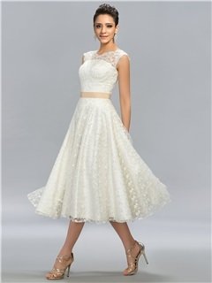 Unique A-Line Lace Button Tea-Length Prom Dress Designed