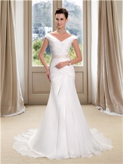 Off the Shoulder V-Neck Ruched Mermaid Wedding Dress