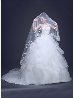 Applique Fingertip-Length Wedding Veil