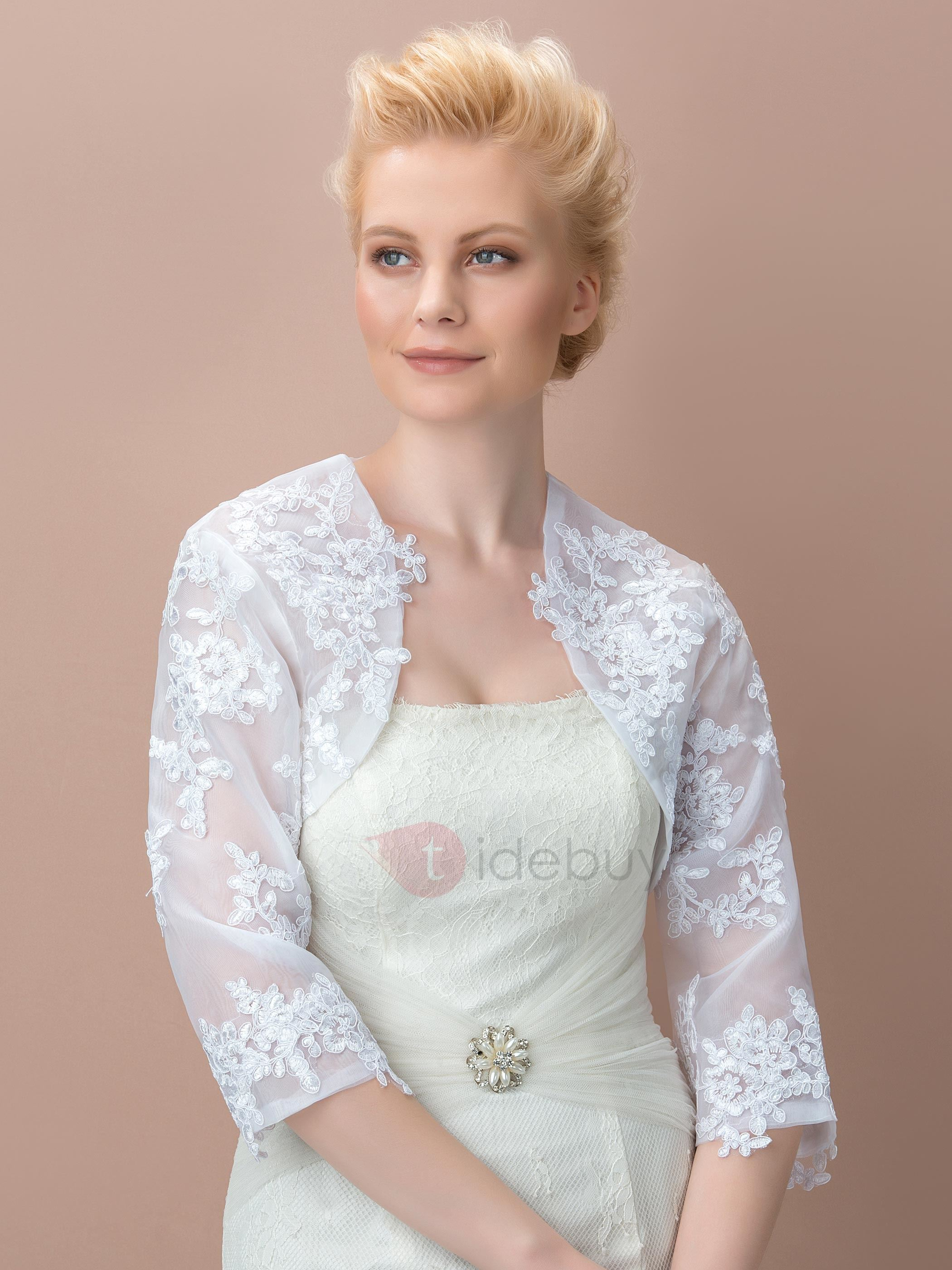 Superb 3/4 Long Sleeves Appliques Wedding Jacket