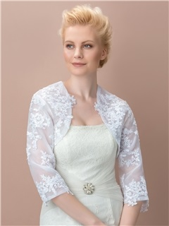 Superb 3 4 Long Sleeves Appliques Wedding Jacket