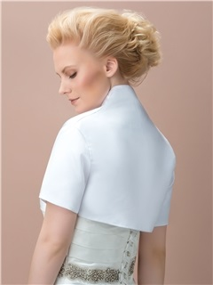 Simple Style Short Sleeves White Wedding Jacket