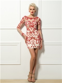 Bright Scoop Neck Beading Embroidery Column Short Cocktail Dress & Cocktail Dresses under 300