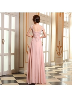 Eye-catching Scoop Neck Appliques Lace-up Long Prom Dress