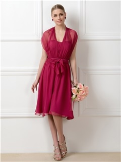 Stylish A-Line Tea-Length Convertible Bridesmaid Dress