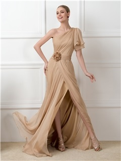 Dazzling One Shoulder Split Front Chiffon Long Champagne Long Evening Dress