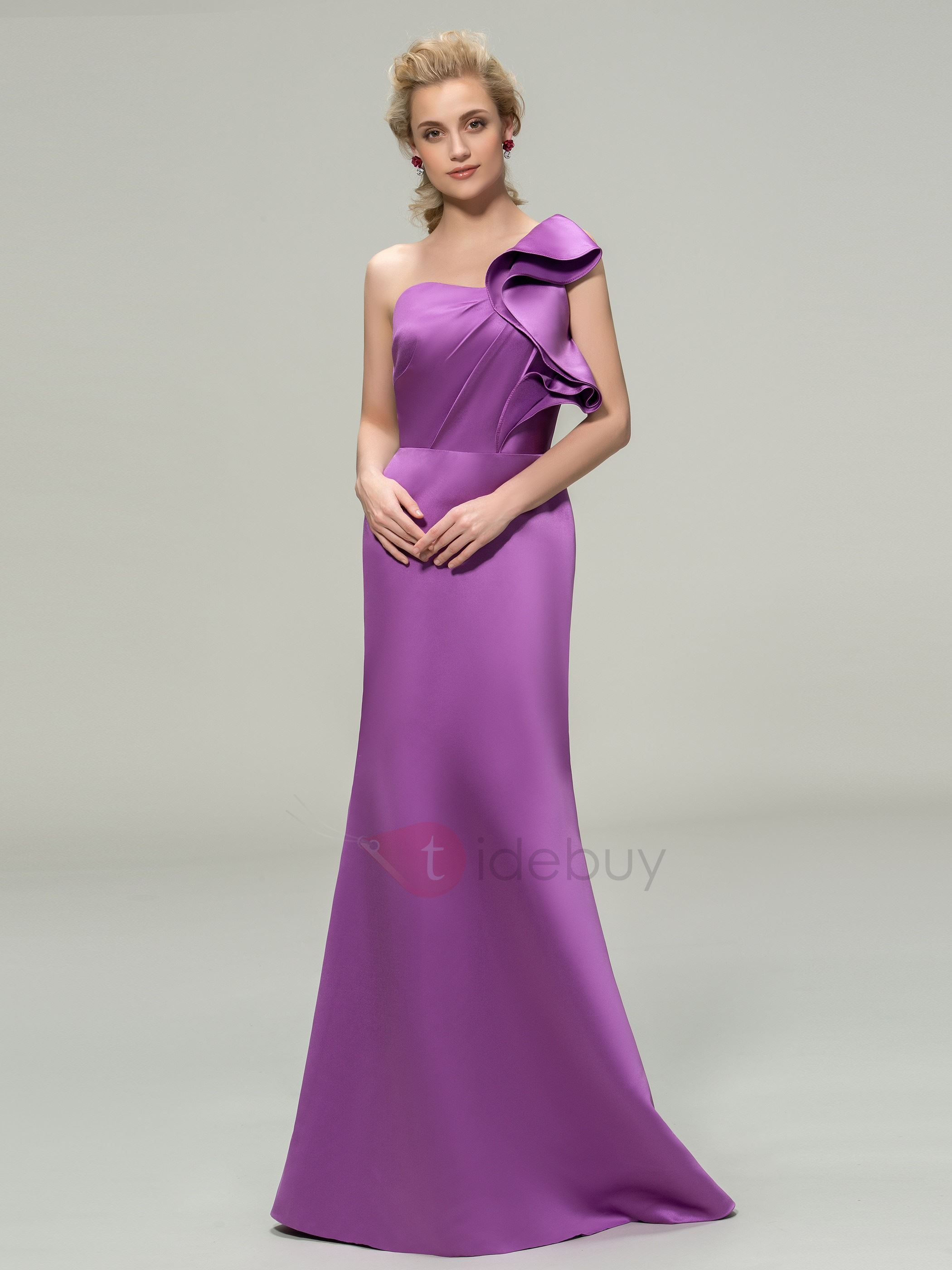 Simple Style Sheath Floor Length One Shoulder Bridesmaid Dress