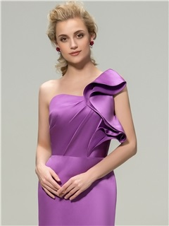 Simple Style Sheath Floor Length One Shoulder Bridesmaid Dresses