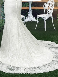 Eye-catching Scoop Neck Long Sleeve Lace Mermaid Wedding Dress