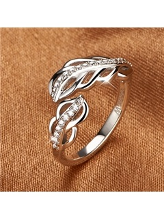 Elegant Feather Shaped 925 Sterling Silver Women's Ring 2