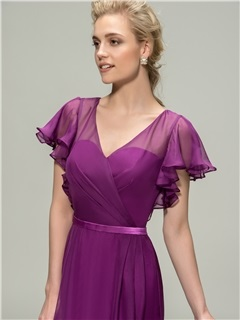 V-Neck Short Sleeve A-Line Long Bridesmaid Dress