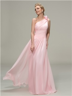 Simple Style Ruched One Shoulder A Line Long Bridesmaid Dress