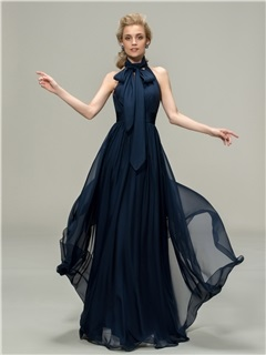 High Neck Sleeveless A Line Blue Long Bridesmaid Dress