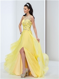 Stunning Round Neck Beaded Pleats Split-Front Long Prom Dress