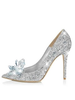 Eye Catching Point Toe Crystal Cinderella Wedding Shoes
