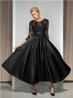 Modern Appliques Sequined 3/4-Length Sleeve Tea-Length Evening Dress
