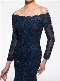 Mermaid Off-The-Shoulder Long Sleeve Lace Mother of the Brides Dress