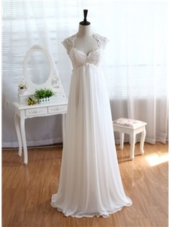 Square Neck Empire Waist Maternity Beach Wedding Dress