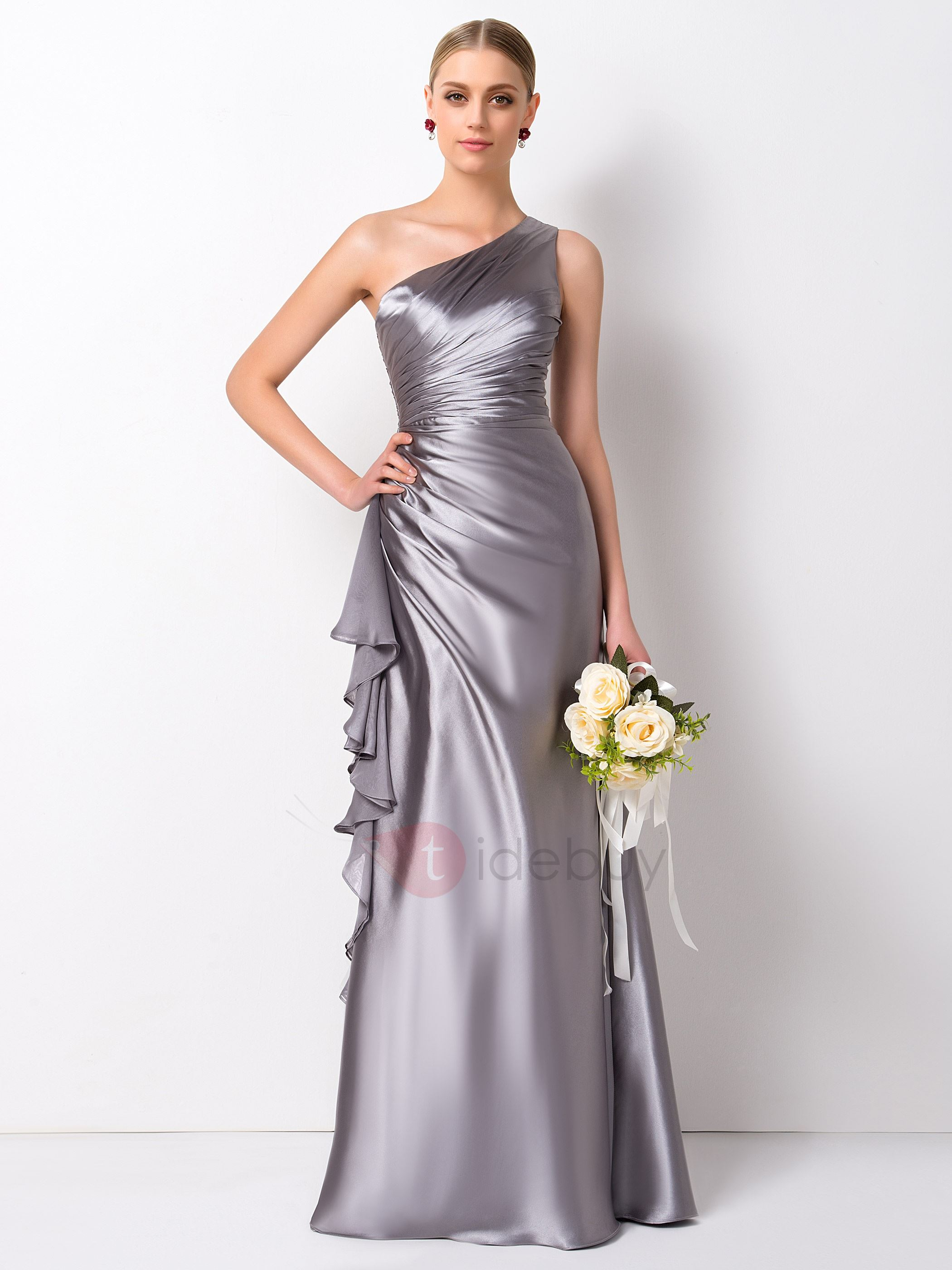 Gorgeous Pleated Ruffles A-Line Long One Shoulder Bridesmaid Dress