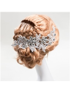 Beautiful Beaded Lace Flower Wedding Hair Flower