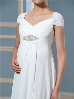 Cap Sleeves Beading Empire Waist Pregnant Wedding Dress