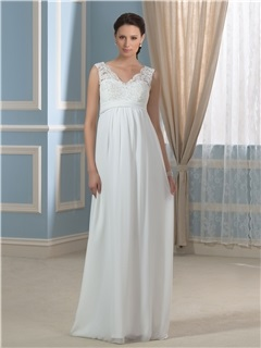 Casual Chiffon Empire Waist V-Neck Appliques Lace Maternity Wedding Dress