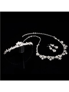 Rhinestone Alloy Tiara, Necklace, and Earrings Wedding Jewelry Set